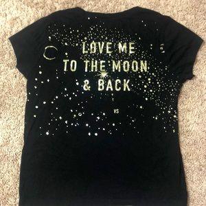 VS Sleep Tee gold glitter embellishments moon